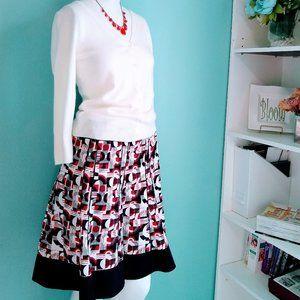 Ann Taylor black, red, white A-line skirt Sz 6